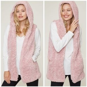 Pink faux Sherpa vest with hood